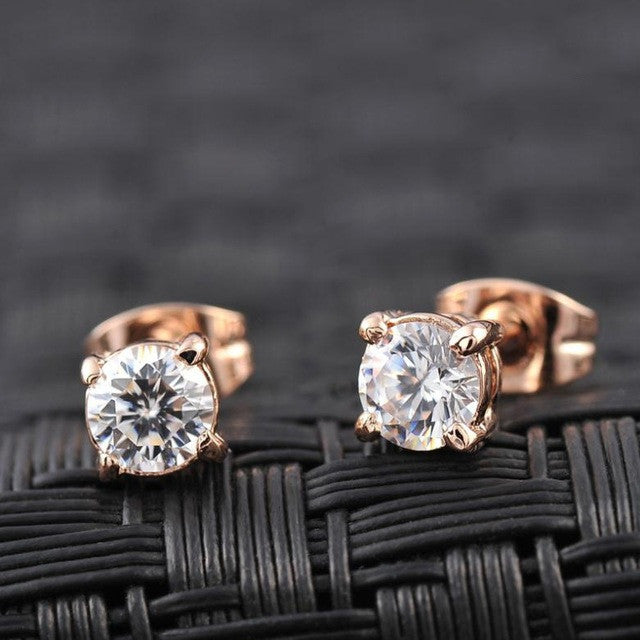 Italina Rigant Real Rose Gold Plated Stud AAA Zirconia Earrings With Environmental Alloy