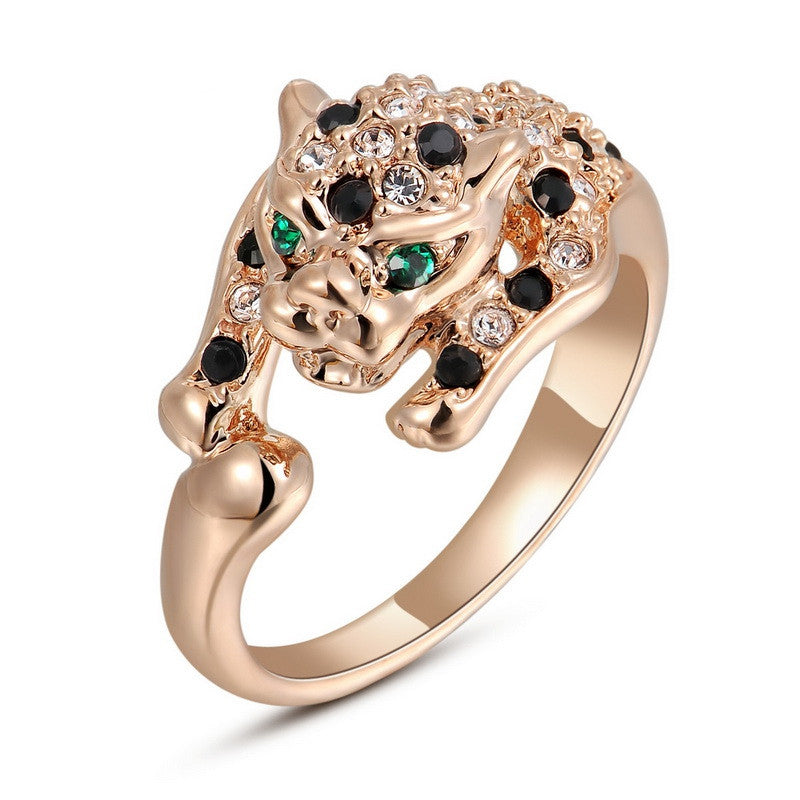 Italina Unique Leopard Series Ring For Women With Austrian Crystal Stellux Party Jewelry