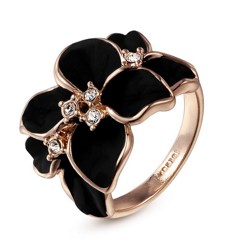 Italina Flower Ring Anel Aneis For Women With Austrian Crystal Stellux