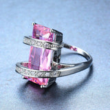 Big Geometric Female Ring Cute Princess Cut Pink Ring 2017 New Fashion White Gold Filled Jewelry Promise Engagement Ring