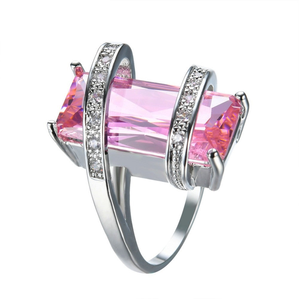 Big Geometric Female Ring Cute Princess Cut Pink Ring New Fashion White Gold Filled Jewelry Promise Engagement Ring