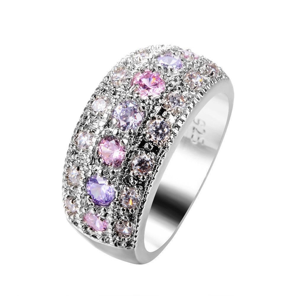 Female Pink & Purple Round Ring 925 Sterling Silver Filled Vintage Wedding Engagement Rings For Women