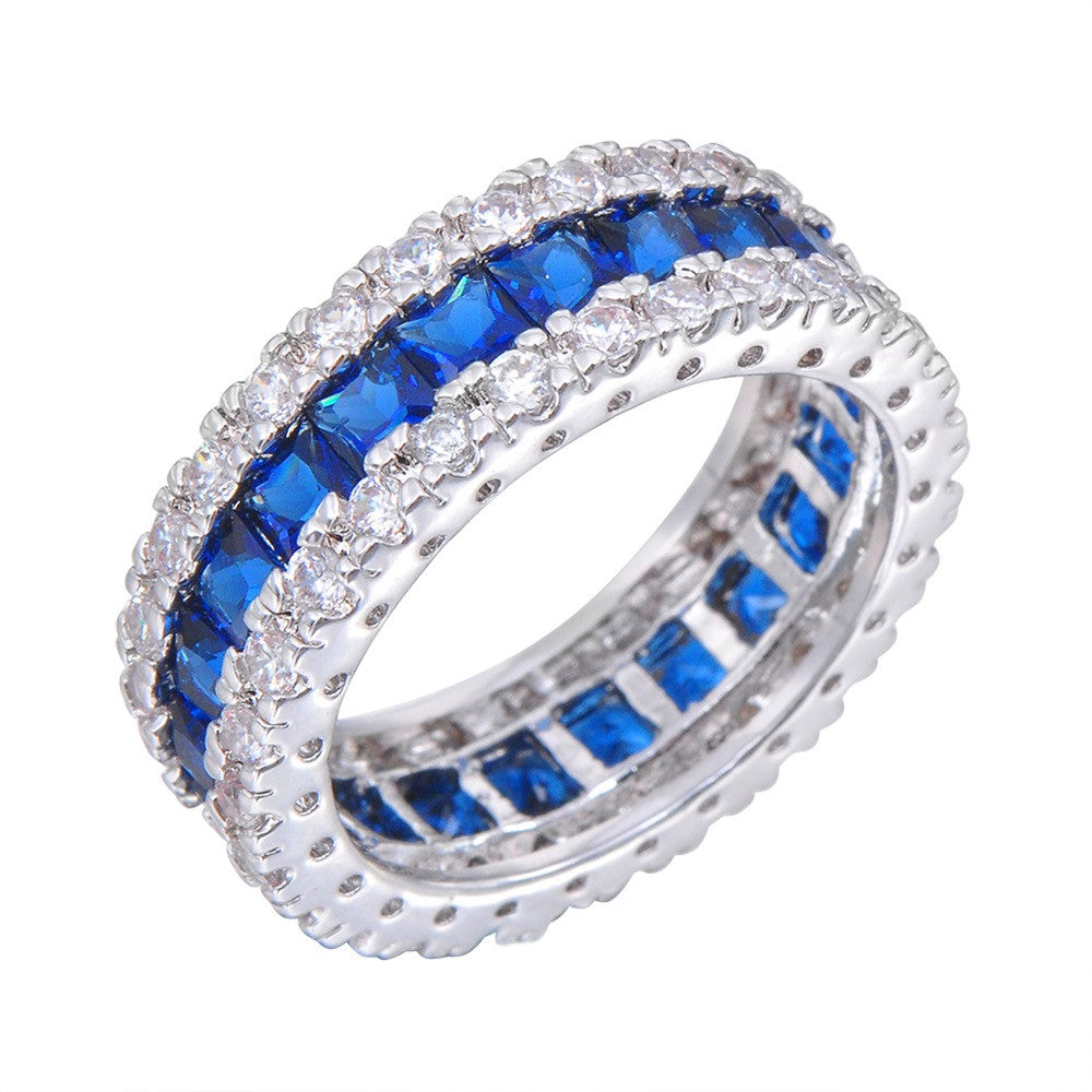 Men Women Blue Round Ring Vintage White Gold Filled Jewelry Christmas Gifts