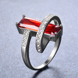 Charm Male Female Red Ring 925 Sterling Silver Filled Vintage Wedding Rings For Men Women Fashion Party Jewelry