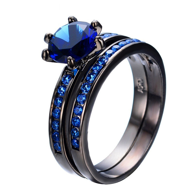 Charming Blue Crystal Zircon Ring Sets Vintage Wedding Rings For Men And Women Black Gold Filled Jewelry