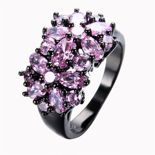 Elegant Black Gold Filled CZ Ring Unique Design Vintage Party Wedding Zircon Rings For Women Gifts Fashion Jewelry