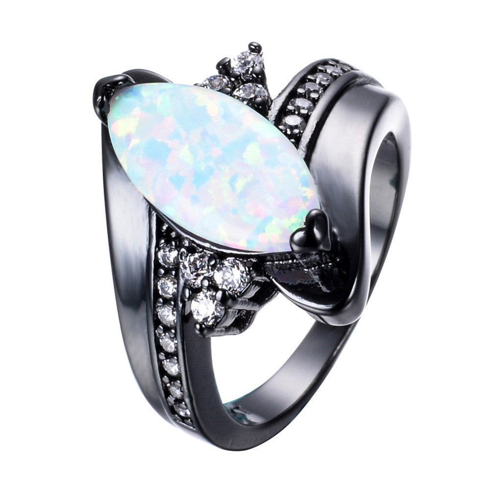Fashion Rainbow Fire Opal Rings For Women Men Black Gold Filled Wedding Party Engagement Horse Eye Shape Ring Best Gifts