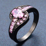 Female Pink Oval Ring Fashion White & Black Gold Filled Jewelry Vintage Wedding Rings For Women Birthday Stone Gifts