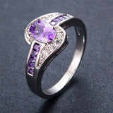 Female Purple Oval Ring Fashion White & Black Gold Filled Jewelry Vintage Wedding Rings For Women Birthday Stone Gifts