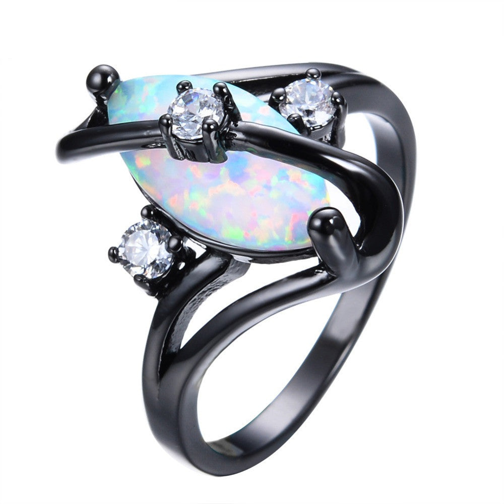 Gorgeous Rainbow Fire Opal Rings For Women Men Black Gold Filled Wedding Party Engagement Promise Ring Christmas Gift