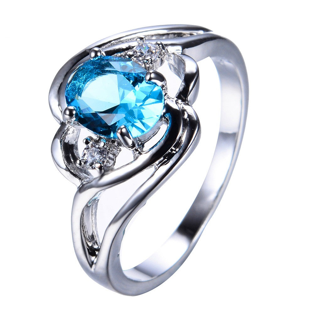 Light Blue Zircon Female Oval Ring White Gold Filled Wedding Party Engagement Finger Rings For Women Fashion Jewelry