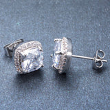 Luxury Female White Square Stud Earring Fashion 925 Sterling Silver Filled Double Earrings For Women New Year Gifts