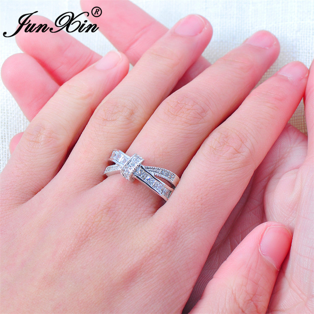 Luxury White Cross Ring Fashion White & Black Gold Filled Jewelry ...