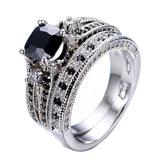 Men's Gorgeous Black Crystal Ring Set Promise Engagement Rings For Women Fashion 10KT White Gold Filled Jewelry
