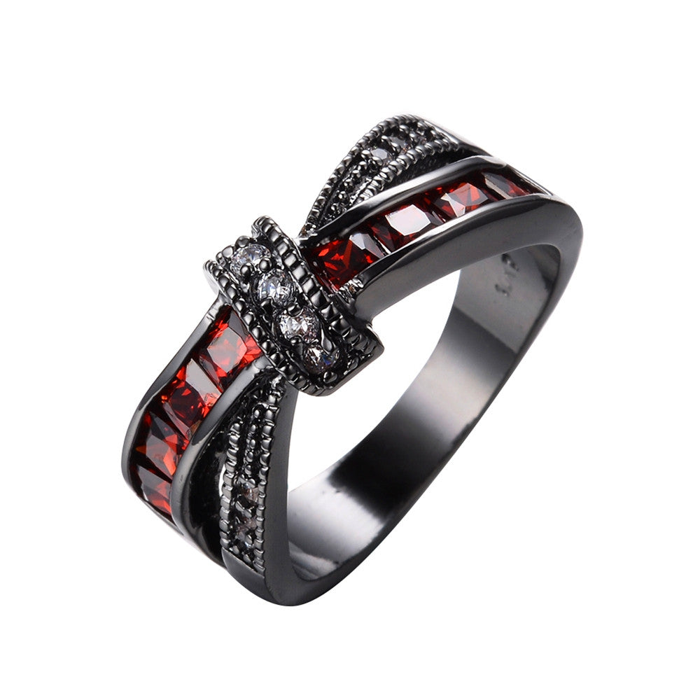 Mystery Red Cross Ring Fashion White & Black Gold Filled Jewelry Vintage Wedding Rings For Women Birthday Stone Gifts