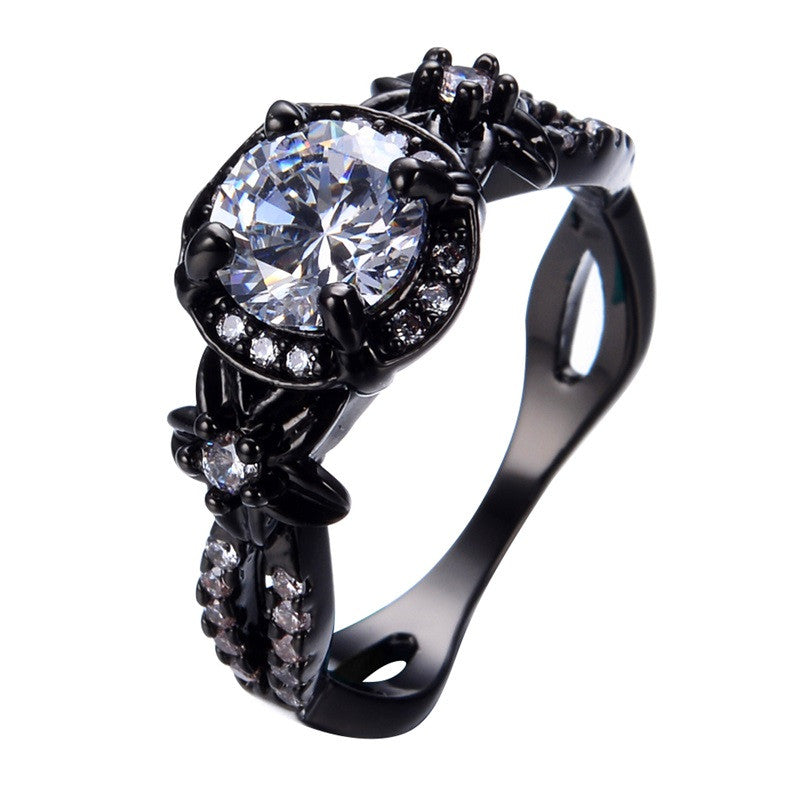 New Crystal Round White AAA Zricon Ring Black Gold Filled Fashion Jewelry Vintage Wedding Rings For Men And Women