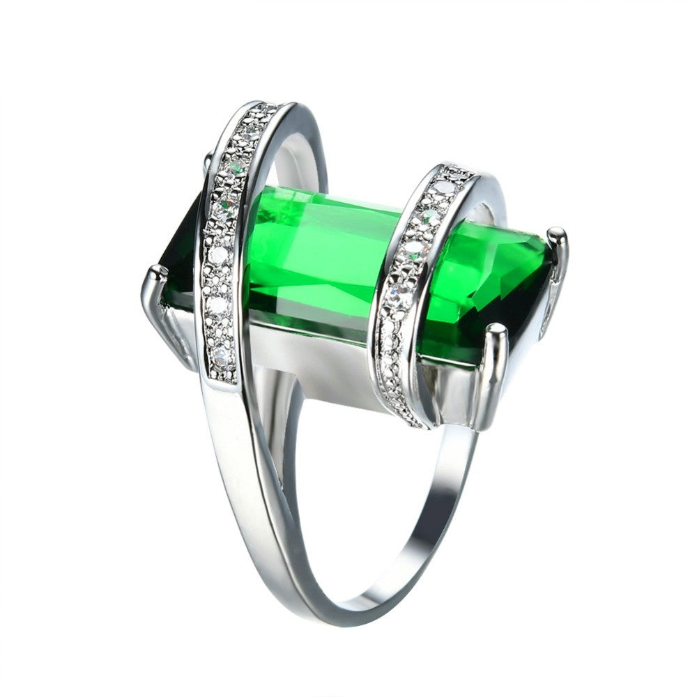 New Fashion Men Women Green Geometric Ring White Gold Filled Jewelry Vintage Wedding Rings For Men And Women