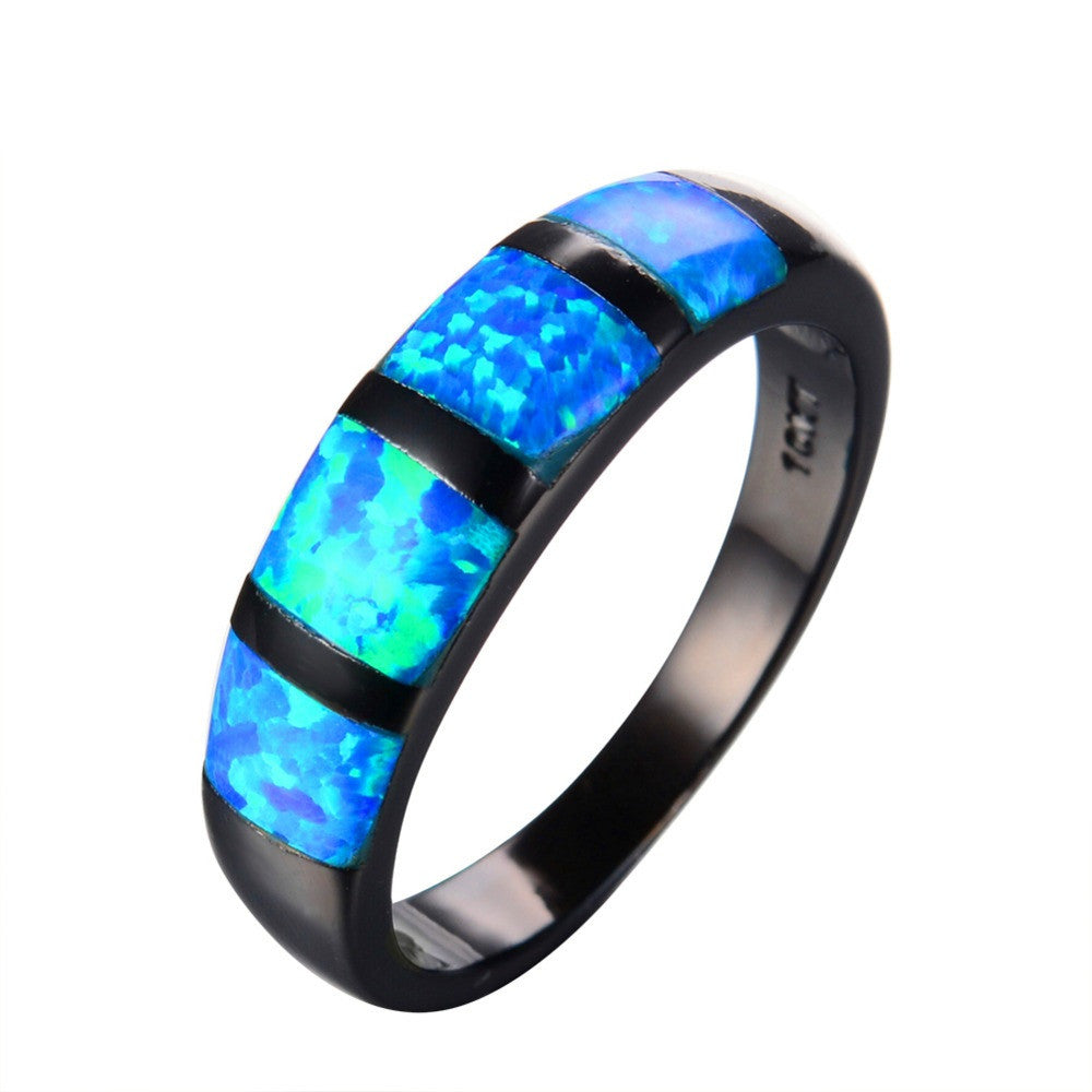 Round Blue Fire Opal Ring Black Gold Filled Vintage Wedding Rings For Women Bague Femme Fashion Jewelry Gift