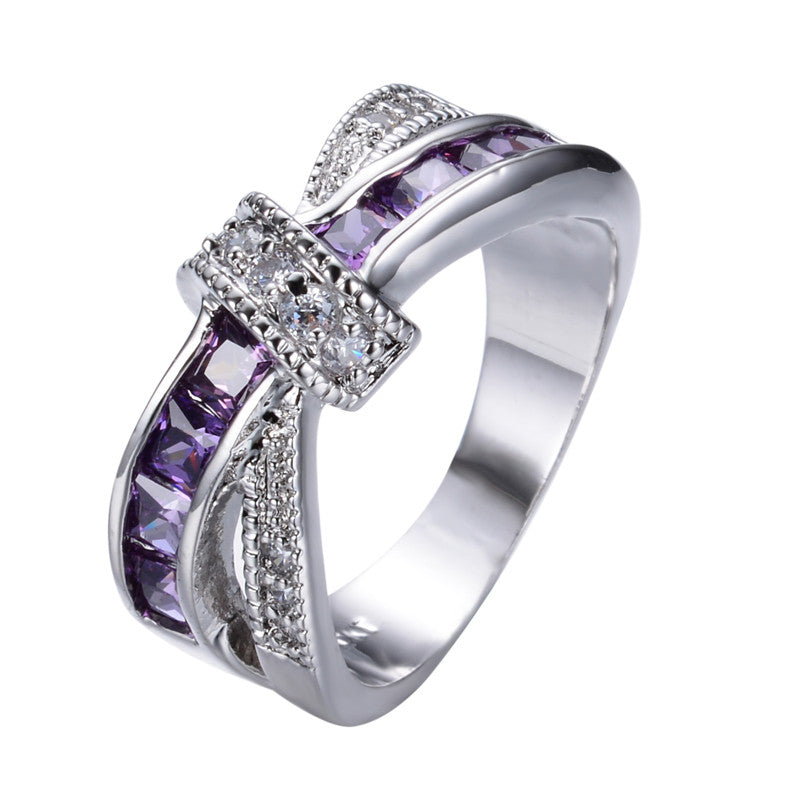 Purple Color Zircon Stone Fashion Jewelry Ring 10KT White Gold Filled