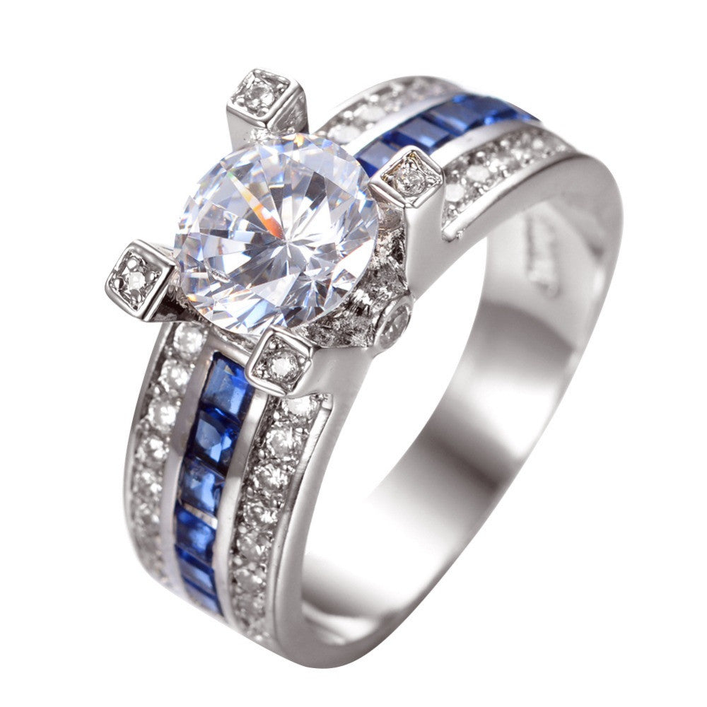 Unique Jewelry Blue Round Zircon Stone Ring White Gold Filled Wedding Engagement Rings For Women
