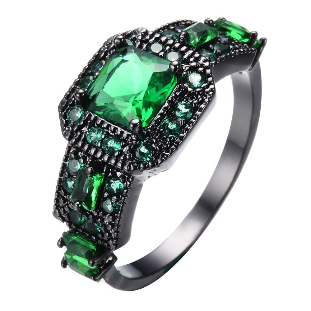 Vintage Green Cubic Zircon Rings For Women Men Black Gold Filled Wedding Party Cocktail Ring Best Friend Gift
