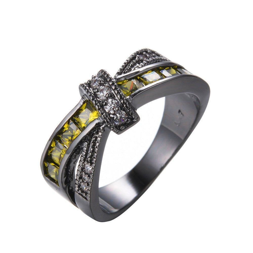 Vintage Jewelry Peridot AAA Zircon Ring Black Gold Filled Crossed Style Wedding Party Engagement Rings For Women Lady