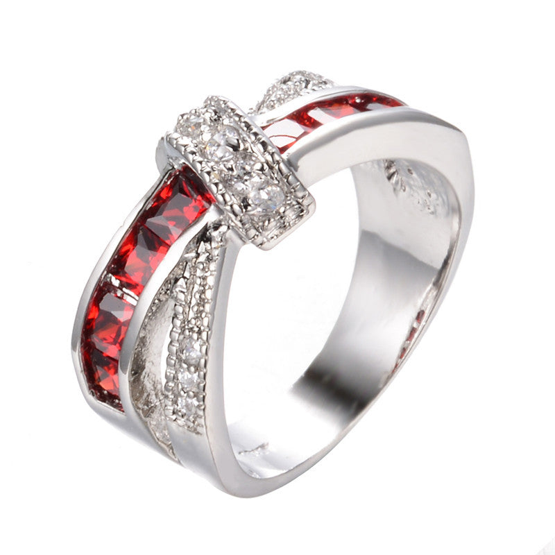 Women Lady Fashion Jewelry White Gold Filled Rings Red Color Zircon Trendy Ring