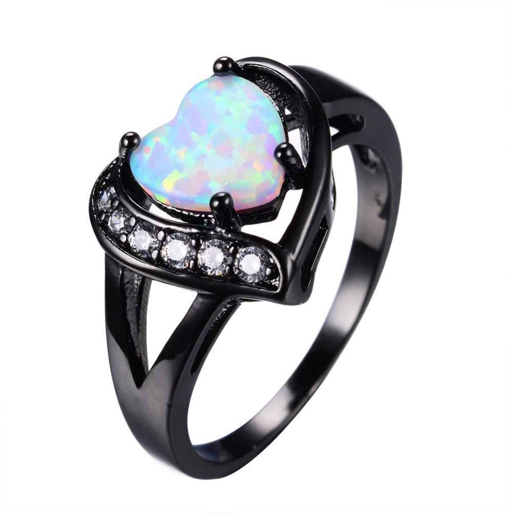Women White Fire Opal Heart Ring With AAA Zircon Black Gold Ring Promise Engagement Rings Bridal Fashion Jewelry