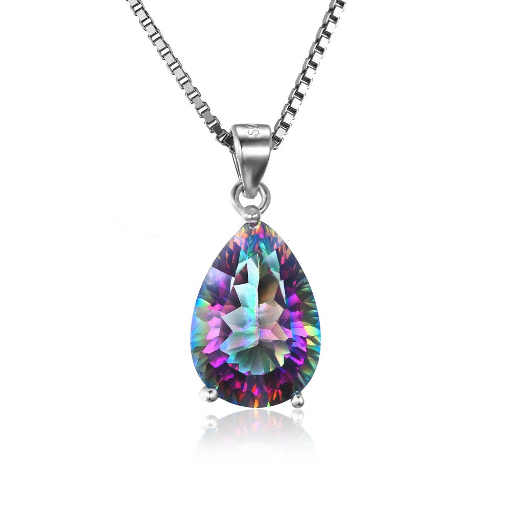 JewelryPalace 4ct Genuine Rainbow Fire Mystic Topaz Pendant 925 Sterling Silver Jewelry For Women Pendant Pear Concave Cut Gift