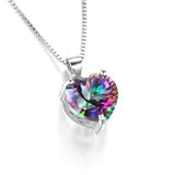 JewelryPalace 4ct Genuine Rainbow Fire Mystic Topazs Pendant Solid 925 Sterling Silver Vintage Jewelry Heart Pendant Brand New