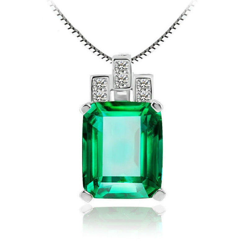 Luxury 6ct Created Green Nano Russian Emerald Pendant 925 Sterling Silver Pendant Fashion Jewelry Without Chain