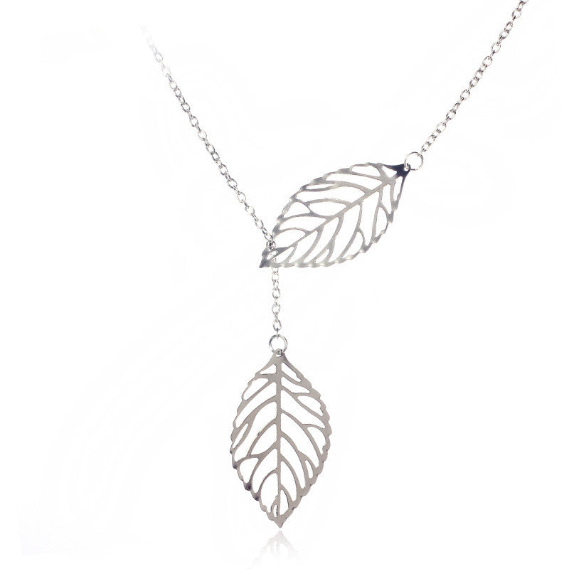 Jewelry Fashion Metal Leaves Double Leaf Short Chain Necklaces Clavicle