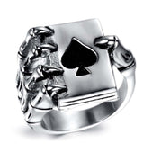 Vintage Style Stainless Steel Men Rings Gothic Skull Hand Claw Poker Playing Card Design Rings