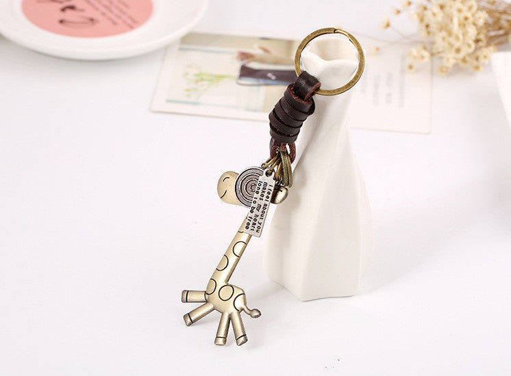 Key Chain Cute Animal Bronze Plated Genuine Leather Vintage Punk Key Chains Men And Women