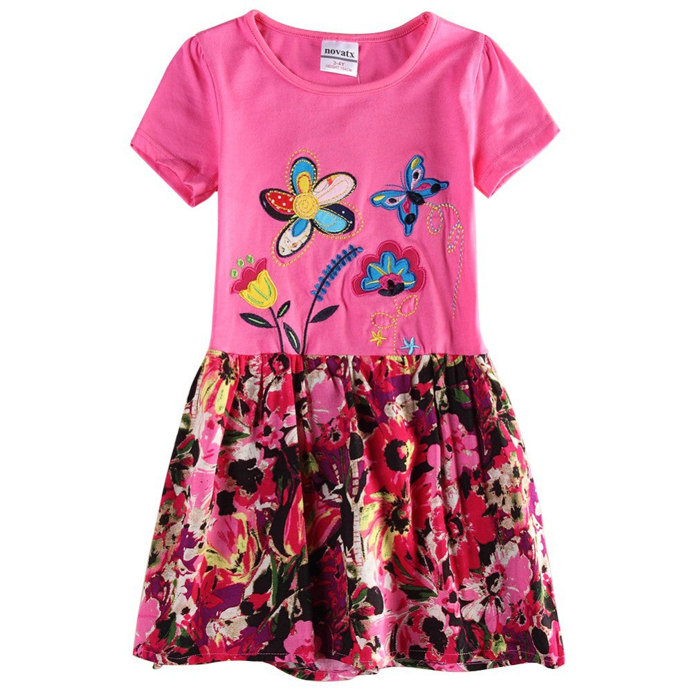 Kids Girl Dress for Baby Clothing Girl Summer Style Fashion Floral Girls Short Sleeves Cotton Casual Dress For Children Girls