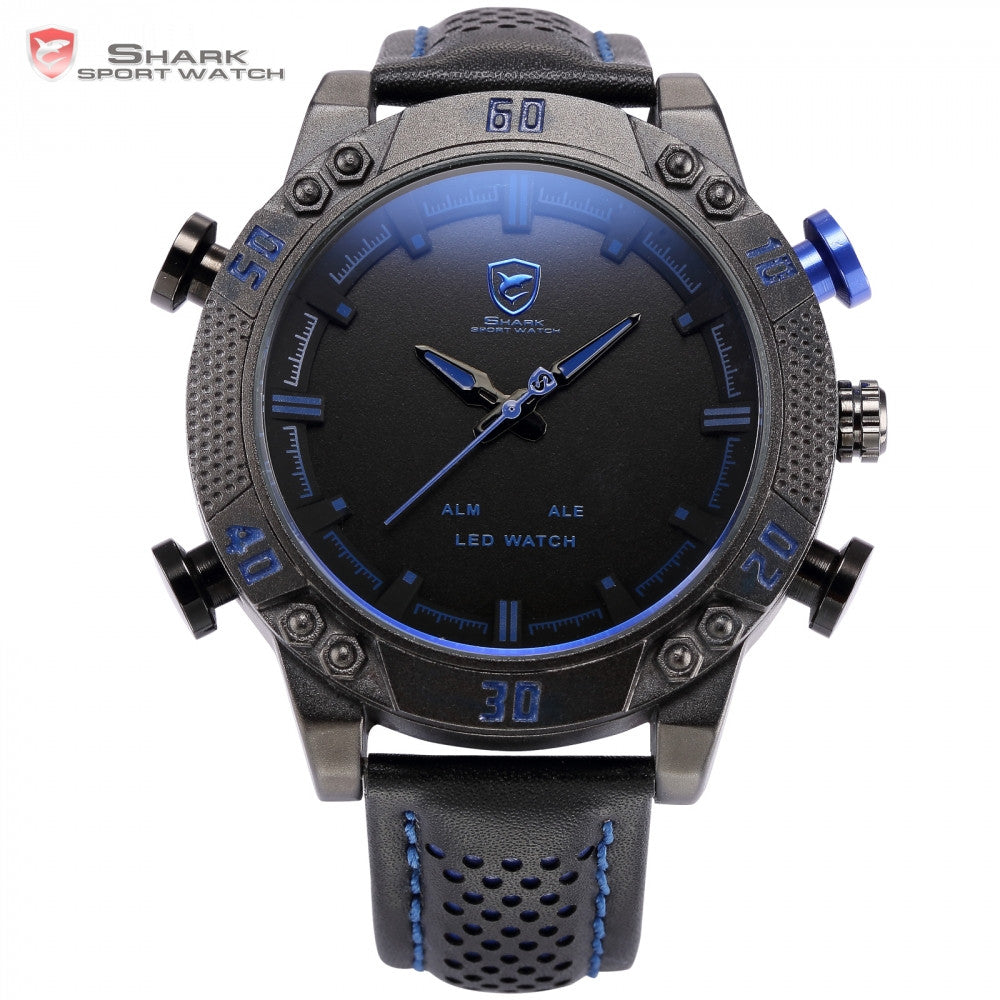 Kitefin Shark Sport Watch Blue LED Back Light Auto Date Display Leather Strap Quartz Digital Outdoor Men Military Watches