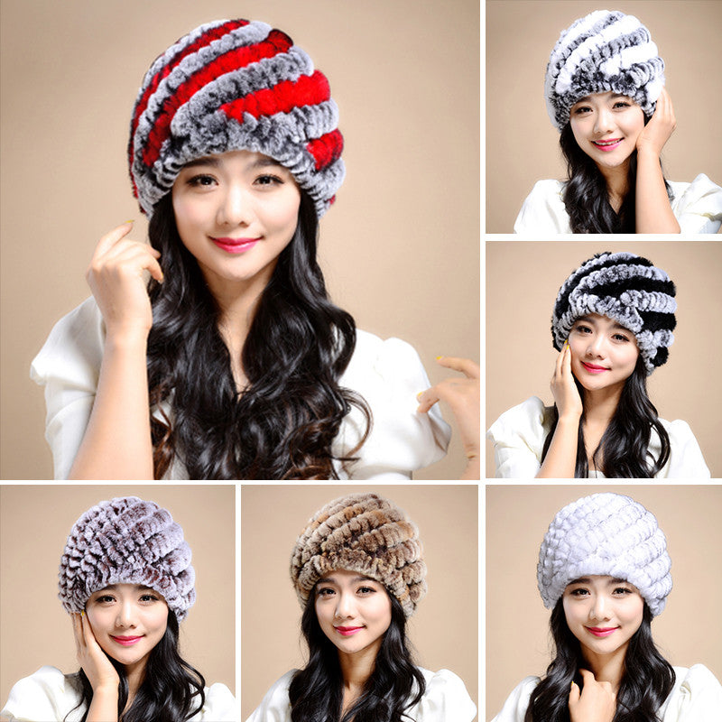 Knitting rabbit fur hat winter cap hats for women new fashion Genuine rabbit fur hat Stripe Fur Caps