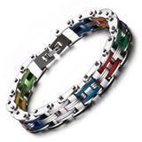 Korean style 316L Stainless Steel Bracelets & Bangles for Men Biker Motorcycle Male's Silicone Clasp Bangle Bracelet