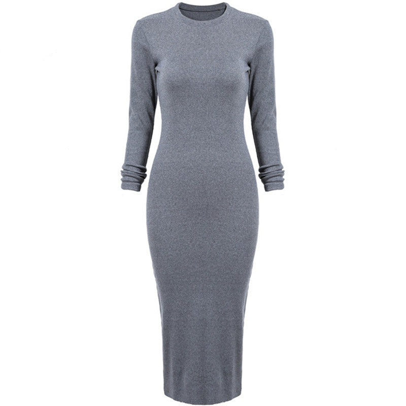 Korean Designer Casual Style Female Dresses Plain High Street Fashionable Long Sleeve Round Neck Dress