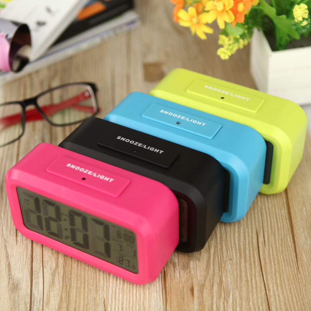 Red Green Blue Black Digital Backlight Time Date Temperature Display LED Alarm Clock Repeating Snooze Light-activated Sensor