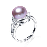 real pearl ring for women classic 18k white gold plated jewelry hot selling 925 sterling silver ring