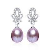 Purple Earrings 925 Sterling Silver Jewelry For Women 100% Genuine Freshwater Pearl Earrings