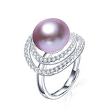 Big Size Natural Freshwater Pearl Ring For Women Fashion AAA CZ 925 Sterling Silver Jewelry white pink purple ring
