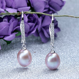 Classic Pearl Earrings,Genuine natural freshwater pearl dangle earrings for women, silver drop earrings 8-9mm