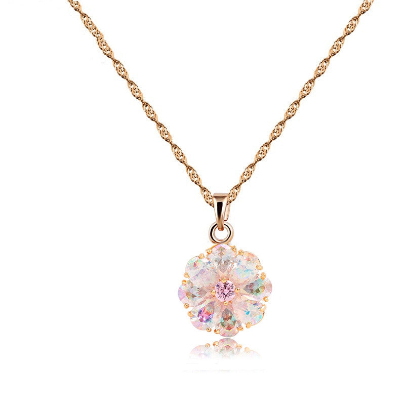New Arrival Shining Rainbow Flower Cubic Zircon Pendant Necklace for Women Girl's Jewelry Gift