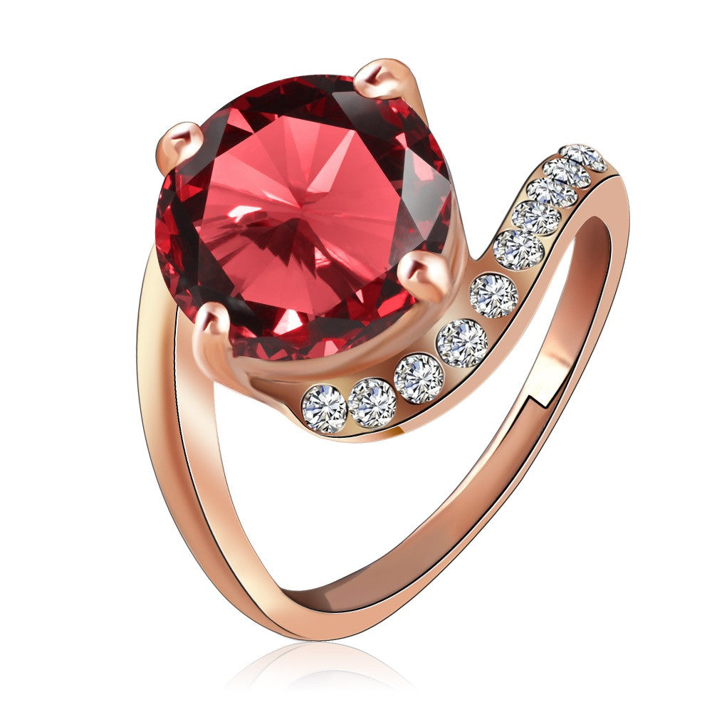 Brand Personalited Red Ring Real Rose Gold Plated Genuine SWA Element Austrian Crystal Girls Rings