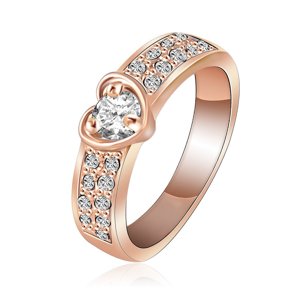 Brand Ring Romantic Rose Gold Plated Heart Rings With Genuine SWA Element Austrian Crystal