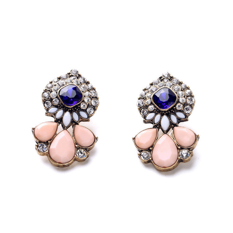 Ladies Cluster Flowers Major Suit Ear Joyas Statement Earrings