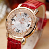 Ladies Fashion Quartz Watch Women Rhinestone Leather Casual Dress Watches Rose Gold Crystal