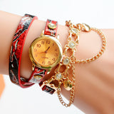 Lady Luxury Leather Chain Wrap Bracelet Watch Women Vintage Quartz Wristwatches